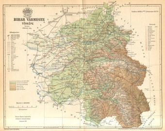 1893 Original Antique Dated Map of Bihar County, Austro-Hungarian Empire