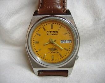 Vintage 1970s Men's Citizen Day Date 21-Jewel Automatic Calendar Watch