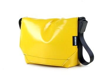 Messenger Bag made from Upcycled Truck Tarp, Water resistant Laptop Bag, Courier Bag, Satchel, Shoulder Bag (O07)