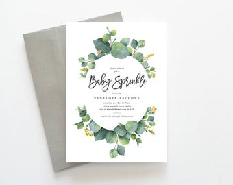 Eucalyptus Invitation, Baby Sprinkle Invitation, Gender Neutral Baby Sprinkle, Green Baby Sprinkle Invitation, Botanical Baby Sprinkle