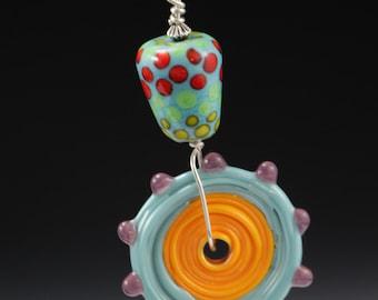Funky Multi Color Beaded Glass Lampworking Pendant
