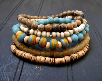Bracelet Stack Multi Bracelet Set Boho Bracelets Boho Stack Bracelet Beach Jewelry Resort Jewelry Wood Bracelet African Beads Natural Stone