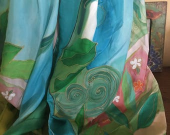 "Handpainted Summer Silk Pareo/Large Scarf/Beach Cover Up by The Silk Maid ""South Pacific"""