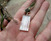 Very Beautiful Selenite and Magical Moldavite Pendant with Organza Cord, Positive Energy