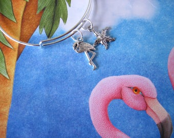 Beach Theme Flamingo and Starfish Swarovski Crystal Adjustable Bangle