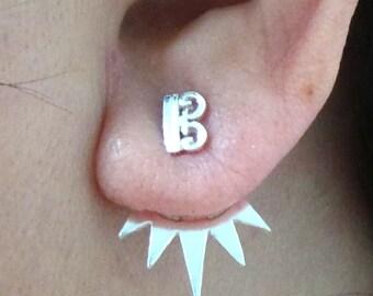 Silver Alto Clef Ear Jacket Stud Earring - Alto Clef Ear Climber - Earring Pins - Spike Earring Stud