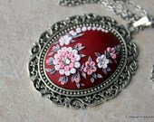 Gorgeous Polymer Clay Applique Statement Pendant Necklace in Maroon