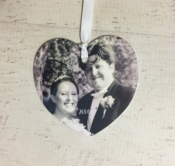 Custom Heart Personalized Picture Ornament for Christmas Tree