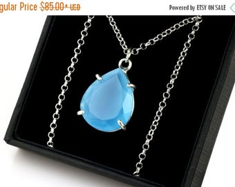 SUMMER SALE - Blue Chalcedony necklace,silver pendant,silver necklace,prong necklace,long necklace,gemstone necklace