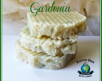 Gardenia - Shea Butter Soap Bar. Vegan. Gluten Free. Organic. Moisturizing. Floral. Large 4 to 5 oz Size
