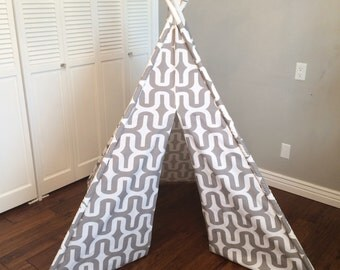 Gray and White, Geometric, Striped, Stripe, Play Teepee, Tee Pee, Tent (poles included)