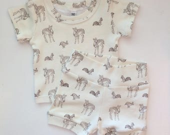 Gender Neutral Woodland, Deer, Rabbit, Bunny, Squirl Two Piece Child Clothing Set