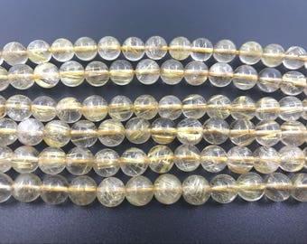6mm Round Quartz Rutilated Gold Aa Grade Bead Semiprecious Gemstone Bead String Beading 15''L Jewelry Supply Wholesale Beads
