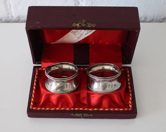 Pair of Antique Sterling Silver Napkin Rings - 19th Century - Wedding gift - Cutlery Sterling Silver