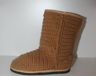 Crochet Boots Pattern-----Classic style CHESTNUT UGGS Inspired Boots-----Outdoor Streetwear----Womens 5-10