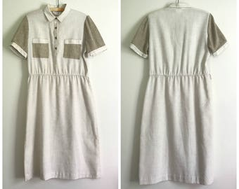 vintage 1980s coffee and cream linen summer dress L-XL