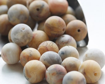 One Full Strand / Matte Crazy Agate / Semiprecious Stone / Gemstone