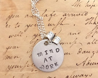 Hamilton The Musical MIND AT WORK Silver Stamped Necklace With Silver book Charm