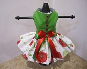 Dog Dress  Green And Poppy Seeds