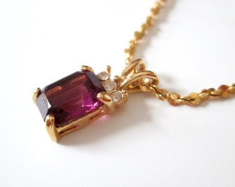 1980s Amethyst Pendant Necklace 18 Inch Gold Chain February Birthstone Gift for Her