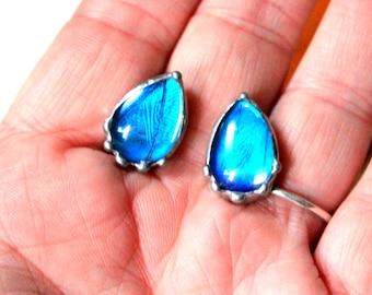 Blue Butterfly Tear Drop Post Earrings, Glass Post Earrings