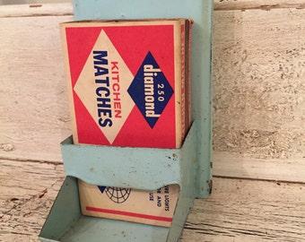 Vintage Chippy Light Blue Match Holder - Retro Kitchen Decor