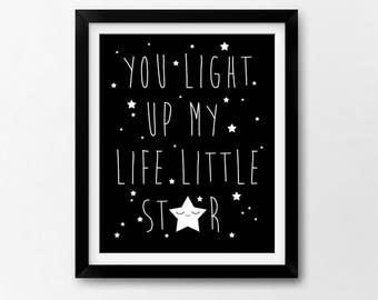 Star Nursery Art Printable, Little Star Nordic Instant Download Illustration by Sleepy Cloud Studios