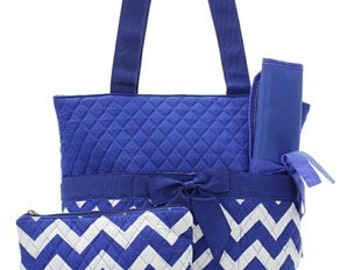 Blue Chevron Quilted Medium Diaper Bag Custom Embroidery