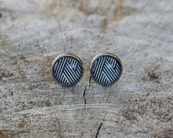 Petites merveilles rayure // earrings // fait au quebec   (BO-1220)