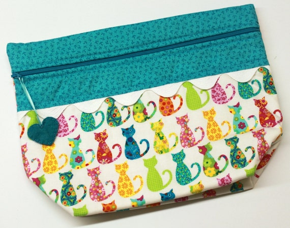Lil' Big Bottom Bright Calico Kitties Cross Stitch Embroidery Bag