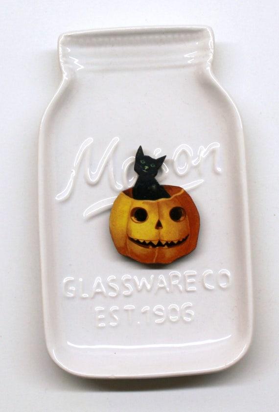 Black Cat Pumpkin Halloween Needle Minder