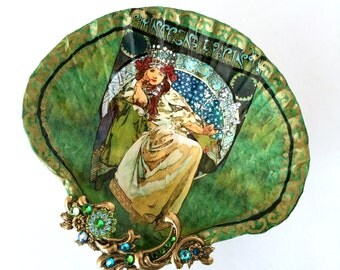 Alfonse Mucha Shell Jewelry Dish Ring Dish Trinket Dish Shell Art