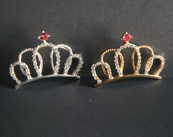 "Gold or Silver Rhinestone Metal Tiara 2"" Wide For Baby Headbands Hair Clips Princess Costume Photoshoot Props You Choose Gold Silver or Both"