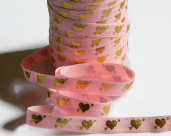 "Valentine's Day FOE 5 yards of 5/8"" Fold Over Elastic Pink with Gold Foil Heart and Arrow Print for Headband Connector Party Favor Ties"