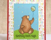 Child Birthday- Kids Birthday Card- Birthday Bear- Bear Hugs- Cute Birthday Cards