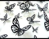 3D Wall Butterflies - 20 Black Different Butterfly for your Nursery, Home Decor