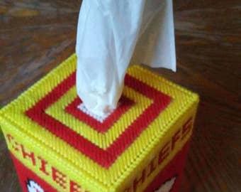 Chiefs Plastic Canvas Tissue Box Cover