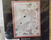 Vintage Golden Bee Counted Cross Stitch Unicorn 5x7 Vintage Supply