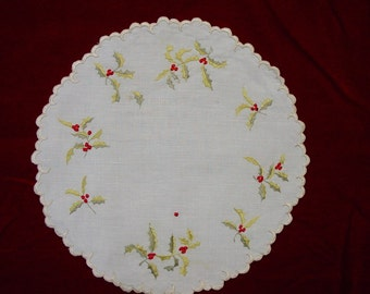 Victorian Doily, Silk Society Handwork Holly & Berries Beautiful 10""