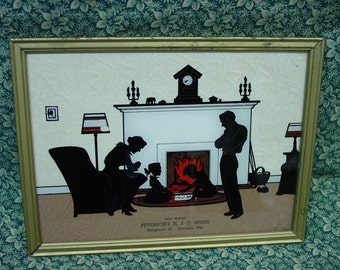 Vintage Silhouette Picture, Advertising, Wisc. Family by Fireplace