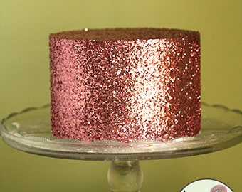 "Pink glitter cake, faux cake, bachelorette party decoration. 6"" across. Fake cake prop for photo booths, or first birthday photo shoot idea"