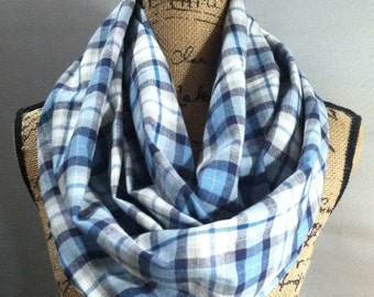 Scarf with pocket flannel one loop blue plaid flannel travel scarf with one hidden pocket