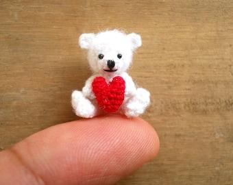 Mini White Bear Holding Heart -  Micro Crochet Miniature Bear - Made To Order