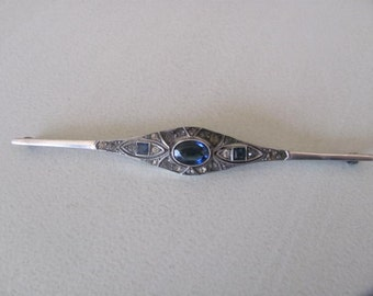 Art Deco Sterling Bar Pin, Sapphire Blue Brooch, Antique jewelry, 4 Inches