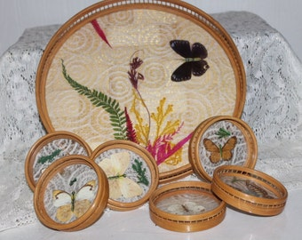 Bamboo Tray and 6 coasters Butterflies