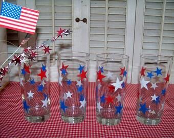 Patriotic Glasses Set of 4 Vintage Red White and Blue Stars