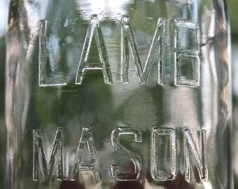LAMB Mason Round Clear Quart Jar w/ Zinc Lid ~ Fruit Canning Jar ~ c1930s & 1940s - Farmhouse Kitchen Pantry Storage ~ Insurance w Shipping