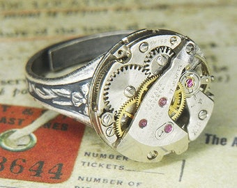 Women's STEAMPUNK Ring Jewelry - Torch SOLDERED - Silver Circular GERVAUX Watch Movement Multiple Tiers & Ruby Jewels - Killer Mechanics