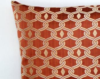 Rust Pillow Throw Pillow Cover Diamond Trellis Decorative Pillow Throw Pillow Cover Accent Cushion Cover 26x26 24x24 22x22 20x20 18x18 16x16