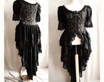 Lace Victorian over dress, gothic, steampunk, black robe, Somnia Romantica, approx size extra large, see item details for measurements